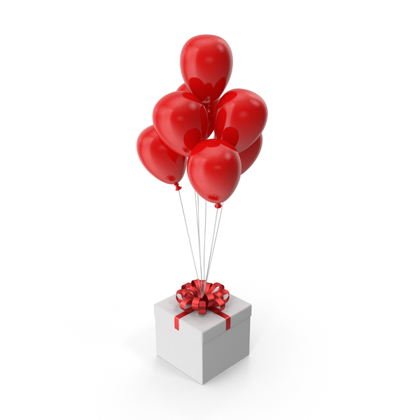 Gift Box with Red Ribbon and Red Balloons PNG & PSD Images