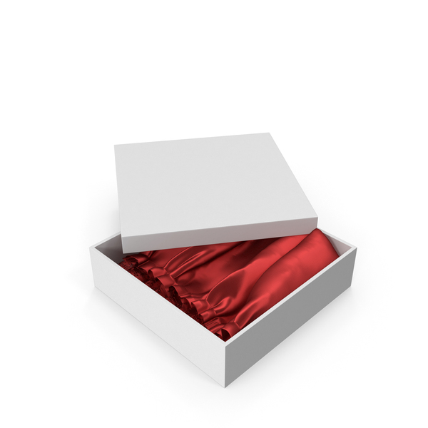Gift Box With Red Silk Fabric PNG & PSD Images