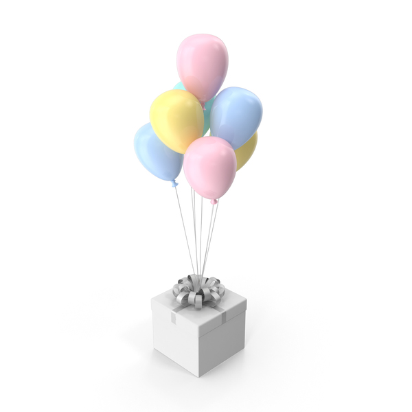 Gift Box with Ribbon and Multicolored Ballons PNG & PSD Images