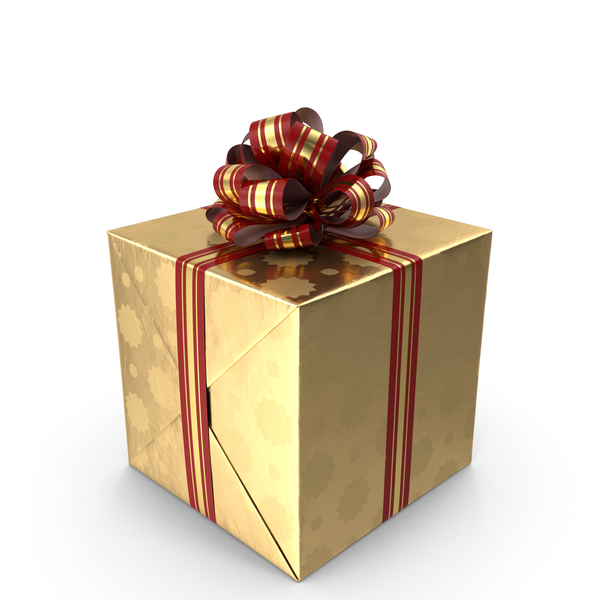 Box: Gift Gold and Red PNG & PSD Images