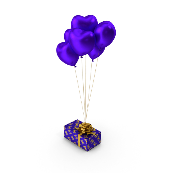 Giftbox Blue Heart Balloons PNG & PSD Images