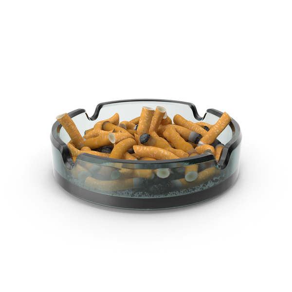 Glass Ashtray Filled With Ash and Cigarettes PNG & PSD Images