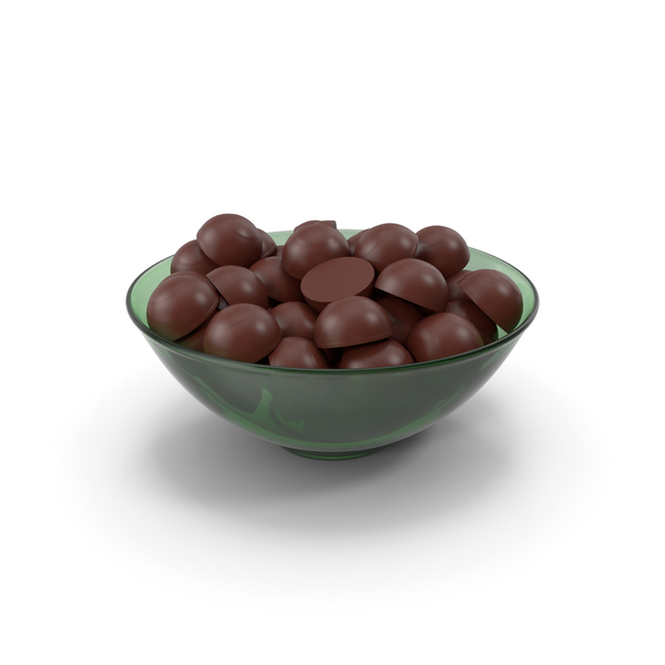 Glass Bowl With Dark Chocolate PNG & PSD Images