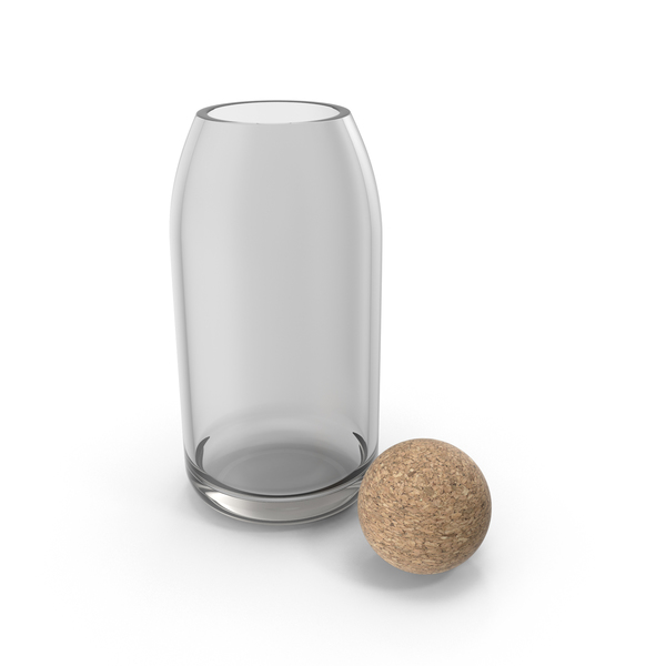 Glass Container with Cork Removed PNG & PSD Images