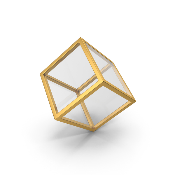 Glass Cube Gold PNG & PSD Images