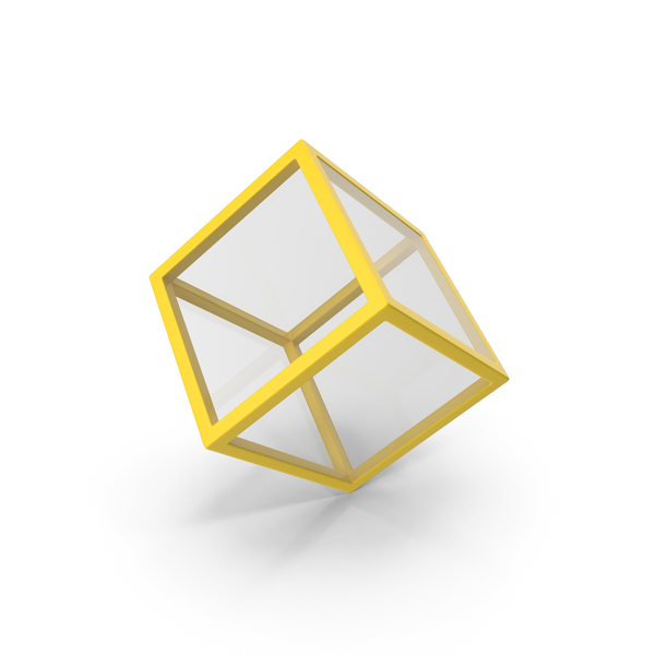 Glass Cube Yellow PNG & PSD Images