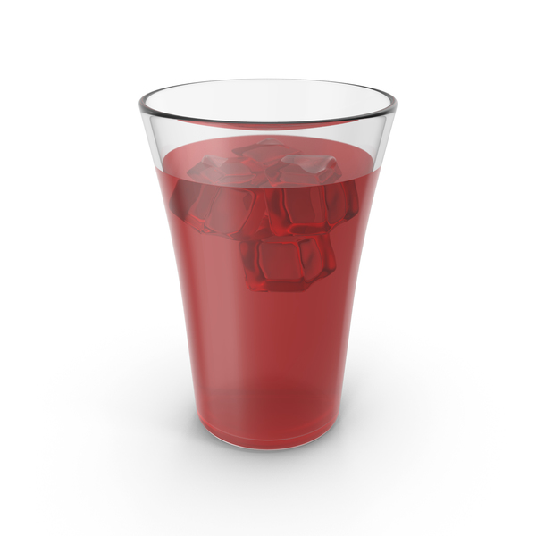 Glass Cup With Red Juice & Ice PNG & PSD Images