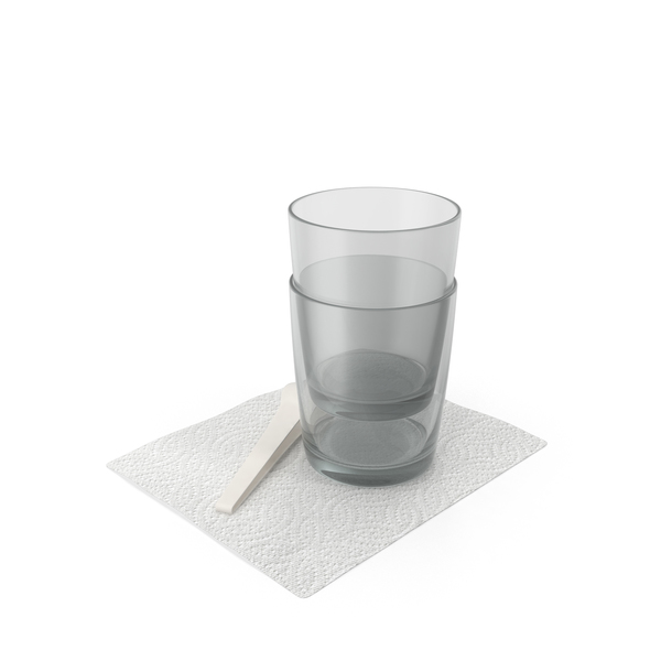 Glassware: Glass Cups on Napkin PNG & PSD Images