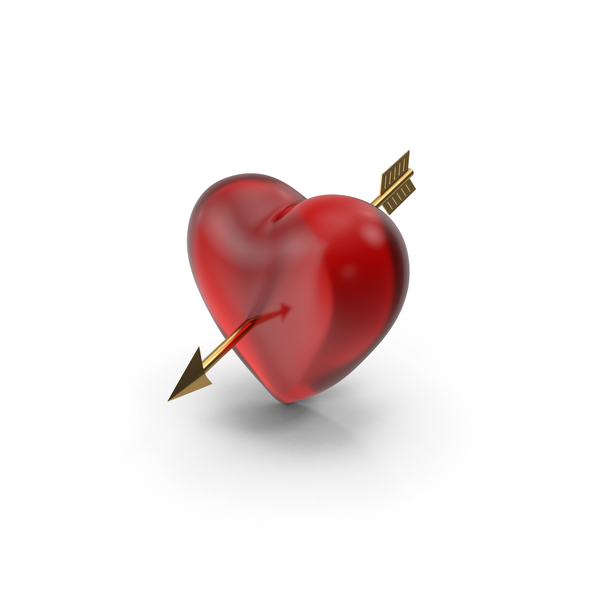Glass Heart With Arrow PNG & PSD Images