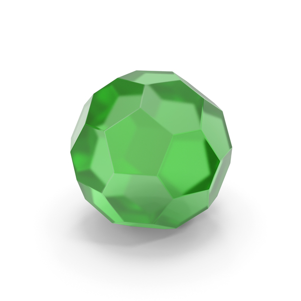 Glassware: Glass Hexagon Ball Green PNG & PSD Images