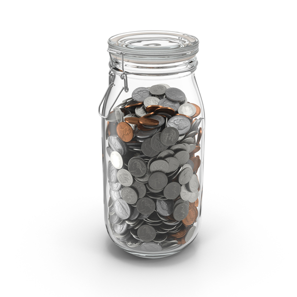 Glass Jar with Currency 02 PNG & PSD Images