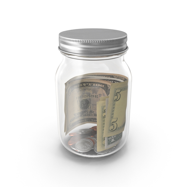 Glass Jar with Currency Object