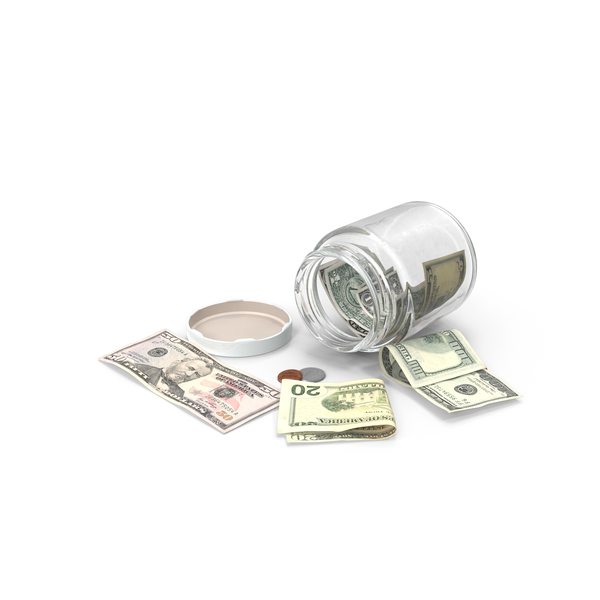 Glass Jar with Currency PNG & PSD Images