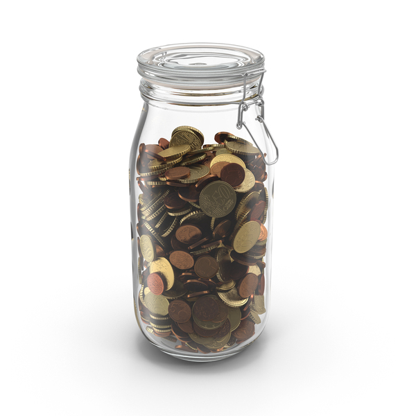 Glass Jar with Euro Coins PNG & PSD Images