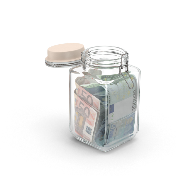 Glass Jar with Euros PNG & PSD Images