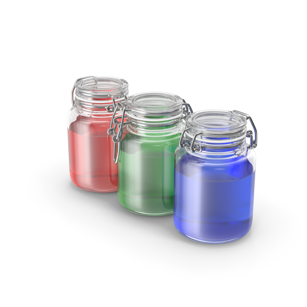 Glass Jars with RGB Colored Liquids PNG & PSD Images