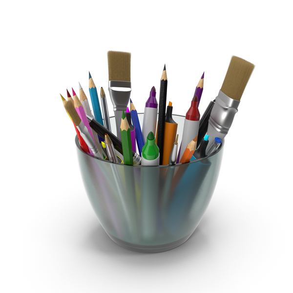 Glass With Art Supplies PNG & PSD Images