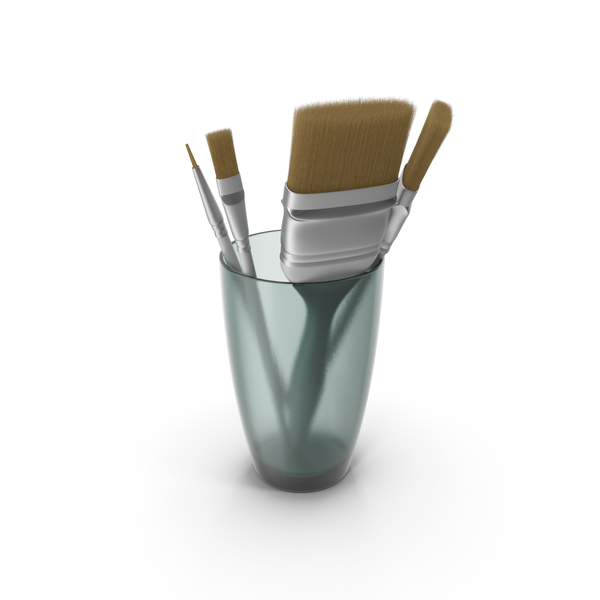 Glass with Paint Brushes PNG & PSD Images