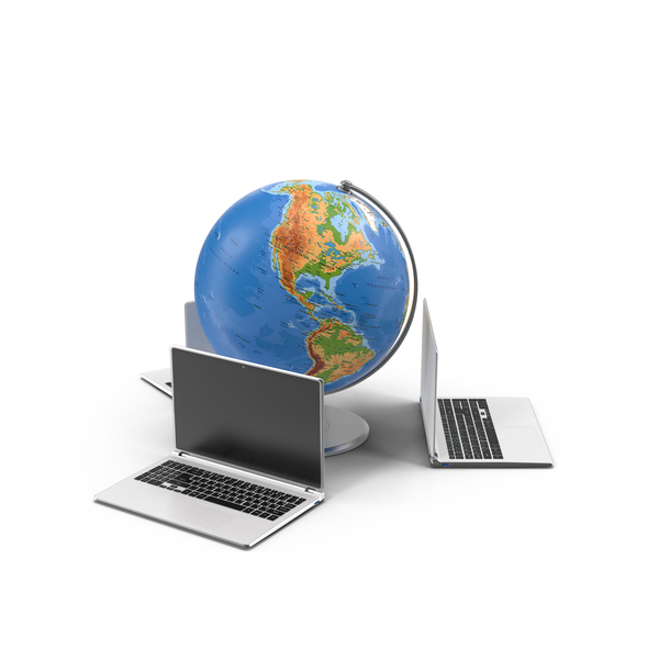 Globe and Laptops PNG & PSD Images