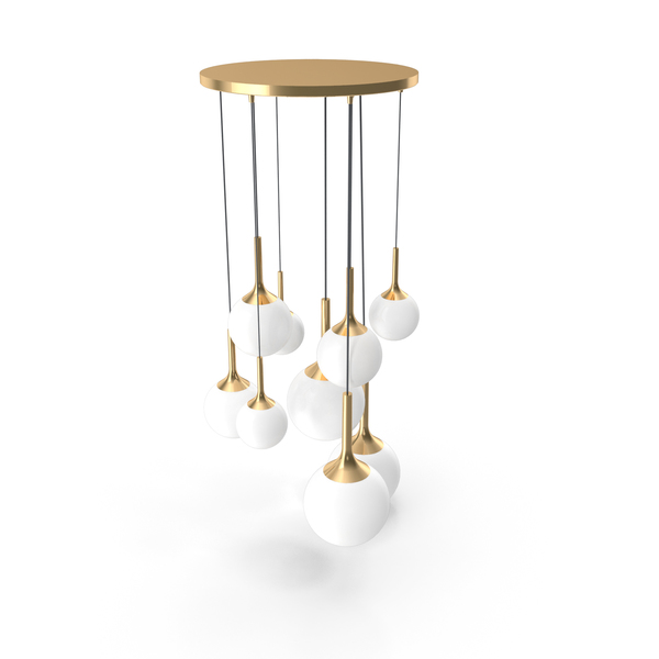 Globo Bronze & White Chandelier PNG & PSD Images