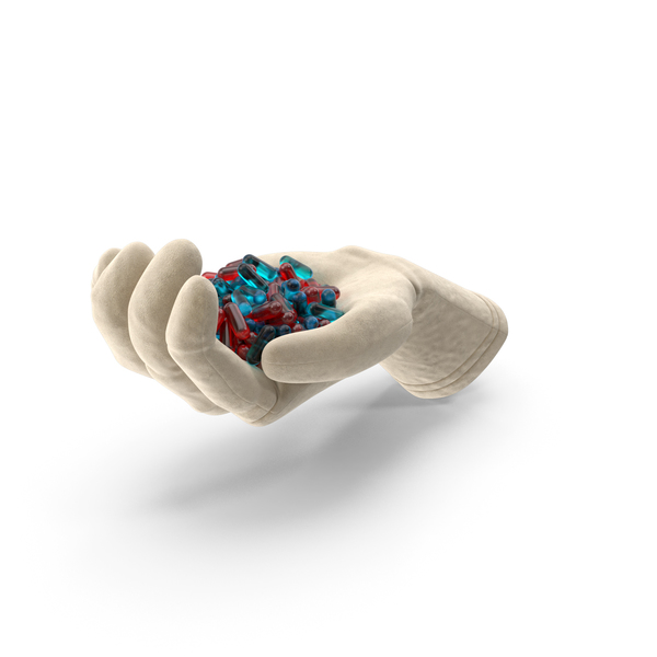 Pill: Glove Handful of Blue and Red Pills PNG & PSD Images