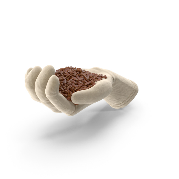 Glove Handful with Flax Seeds PNG & PSD Images