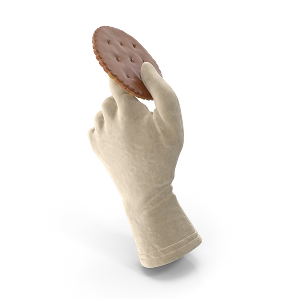 Glove Holding a Chocolate Covered Circular Cracker PNG & PSD Images
