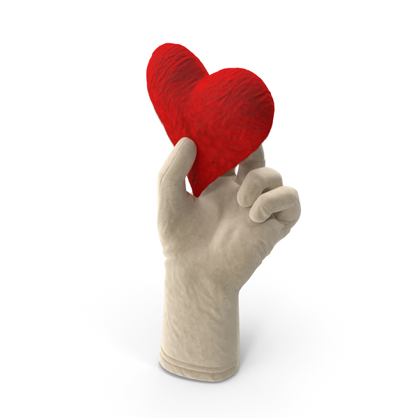 Hand Gestures: Glove Holding a Fluffy Heart PNG & PSD Images