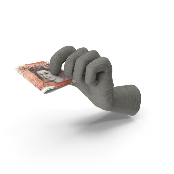 Glove Holding a Folded 10 Uk Pound Stack PNG & PSD Images