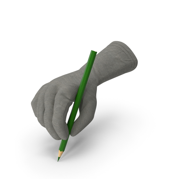 Colored: Glove Holding a Green Pencil PNG & PSD Images