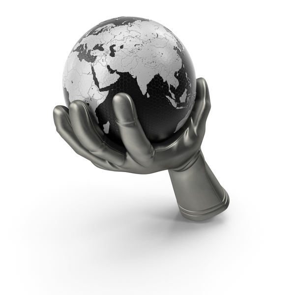 Glove Holding a High Tech Earth PNG & PSD Images