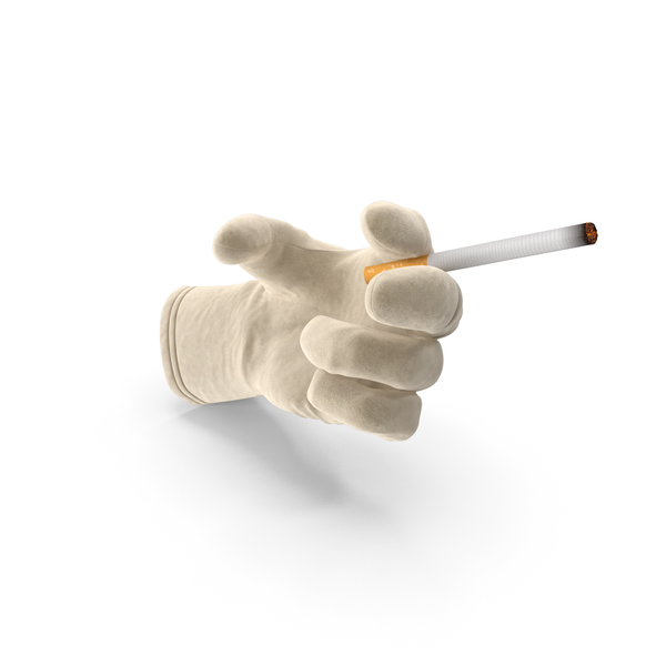 Gloves: Glove Holding a Lit Ciggarete PNG & PSD Images