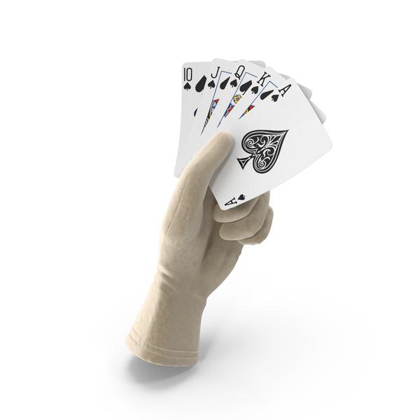 Gloves: Glove Holding a Royal Flush PNG & PSD Images