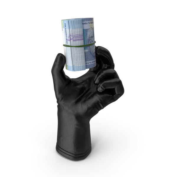 Leather Gloves: Glove Holding a South African Rand Banknote Roll PNG & PSD Images