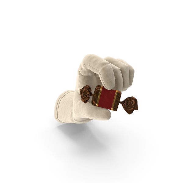 Glove Holding a Wrapped Red Toffee Candy PNG & PSD Images