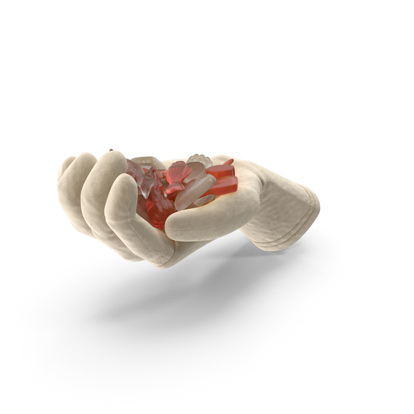 Glove Holding Mixed Gummy Candy PNG & PSD Images