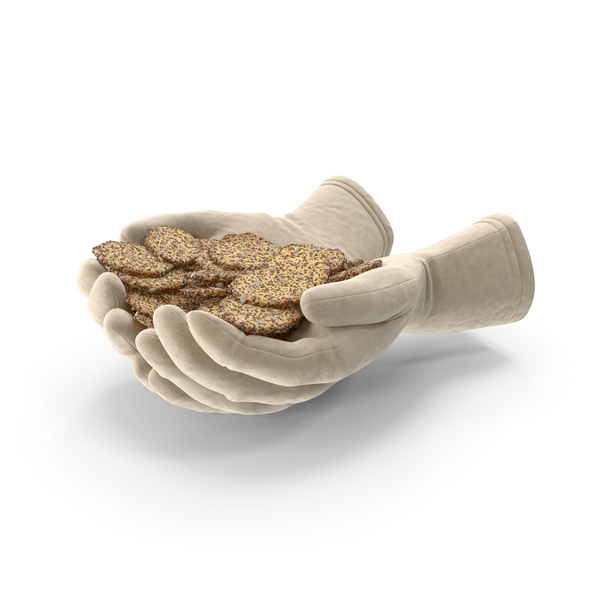 Gloves Handful with Crackers with Seeds PNG & PSD Images