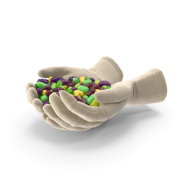 Gloves Handful with Tropical Jelly Beans PNG & PSD Images