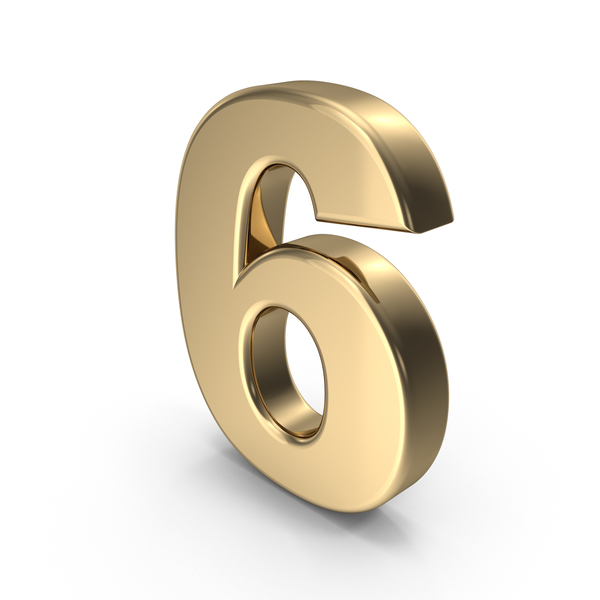 Number: Gold 6 PNG & PSD Images