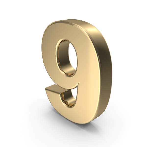 Number: Gold 9 PNG & PSD Images