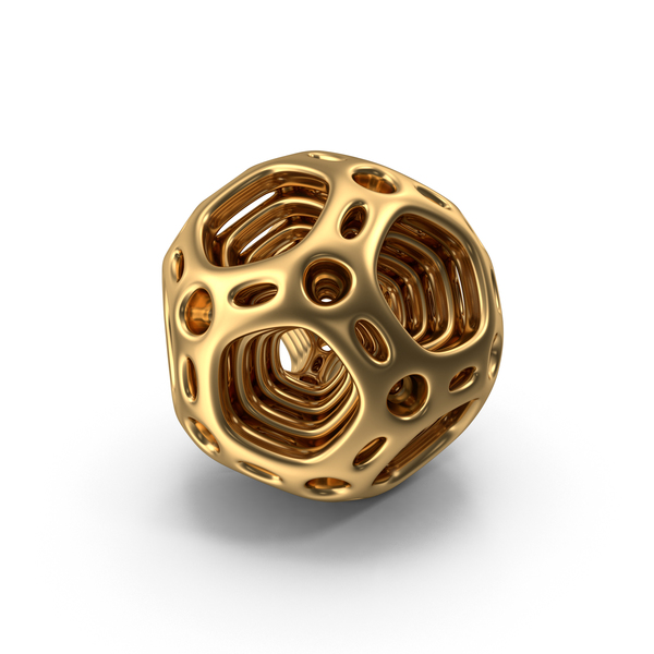 Polyhedron: Gold Abstract Nested Dodecahedron PNG & PSD Images