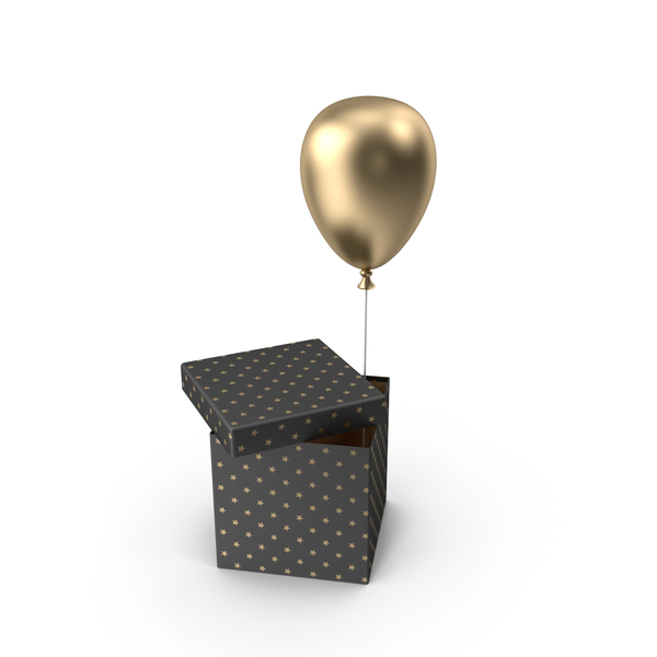 Gold Balloon Box PNG & PSD Images