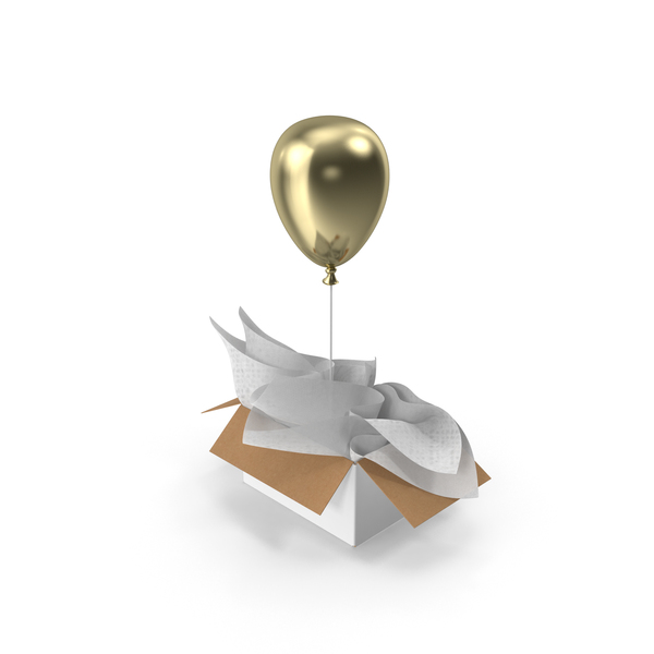 Gold Balloon Gift Box PNG & PSD Images