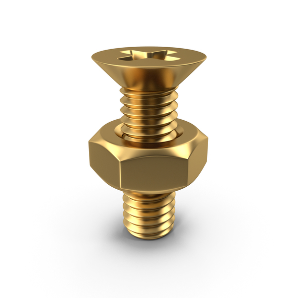 Gold Bolt with Nut PNG & PSD Images