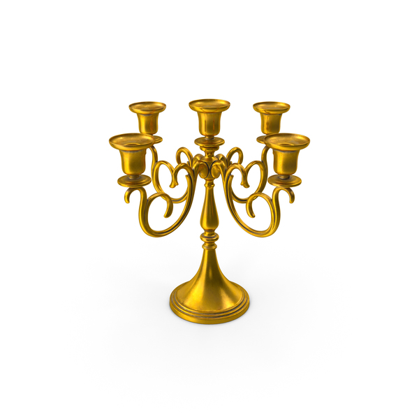 Holder: Gold Branched Candlestick PNG & PSD Images