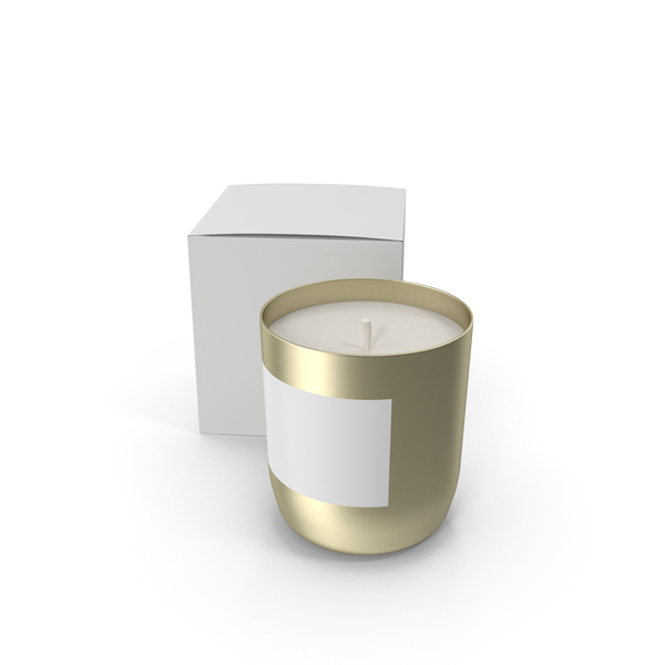 Gold Candle with White Box PNG & PSD Images