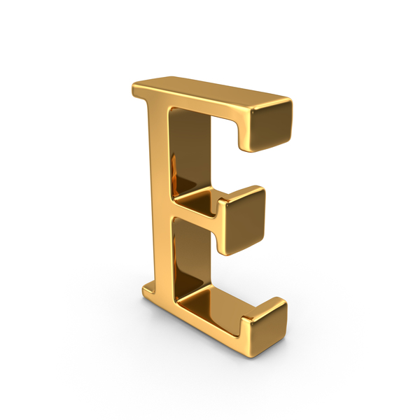 Language: Gold Capital Letter E PNG & PSD Images