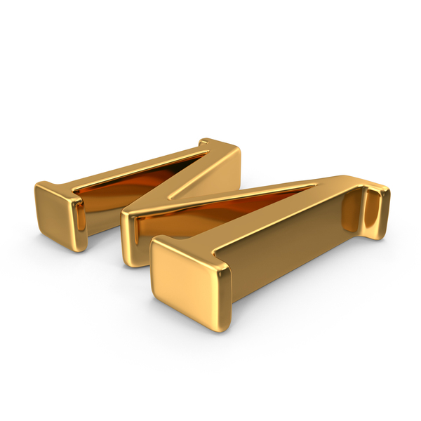 Gold Capital Letter M Object