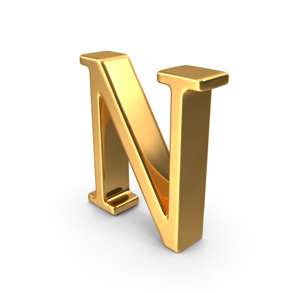 Language: Gold Capital Letter N Object
