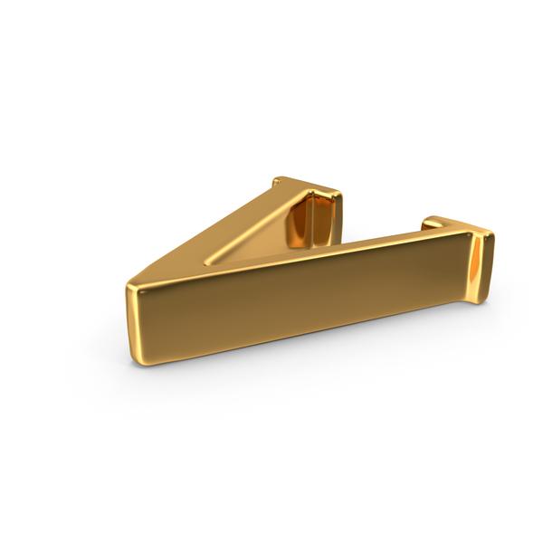 Gold Capital Letter V Object